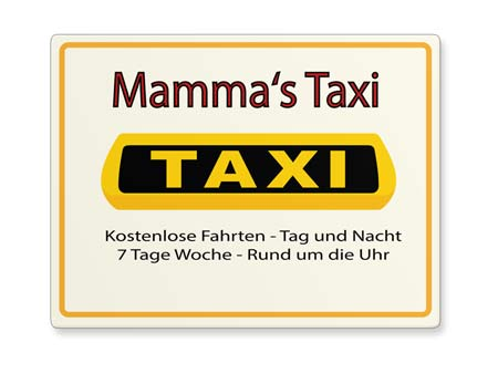 Taxi Mama Funschild Querformat